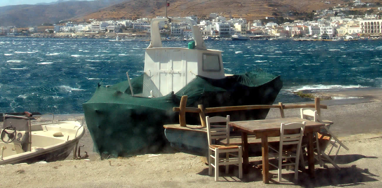 tinos harbour with strong northern winds